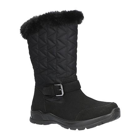 Easy Street Womens Boulder Waterproof Winter Boots Flat Heel, 8 1/2 Medium, Black