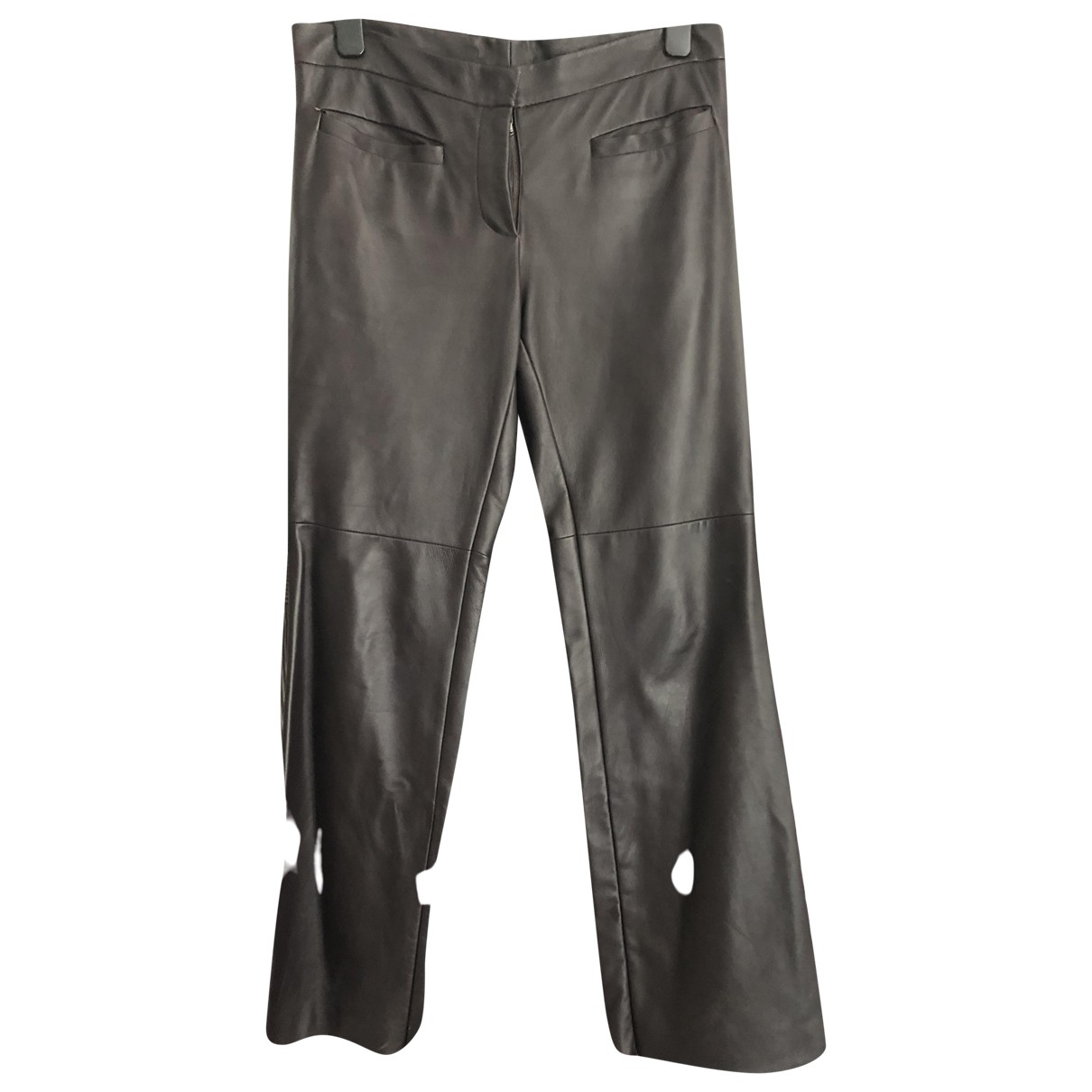 Non Signé / Unsigned \N Brown Leather Trousers for Women 8 UK
