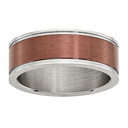 Mens 8mm Bronze Tone IP-Plated Stainless Steel Wedding Band, 11 1/2 , No Color Family