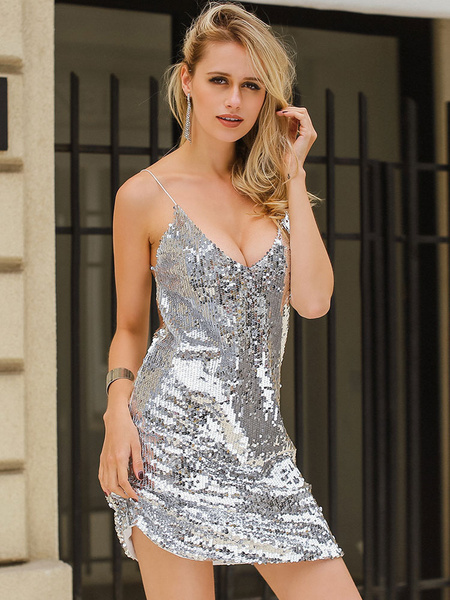 Milanoo Sexy Club Dress Straps Sequins Summer Slip Dress
