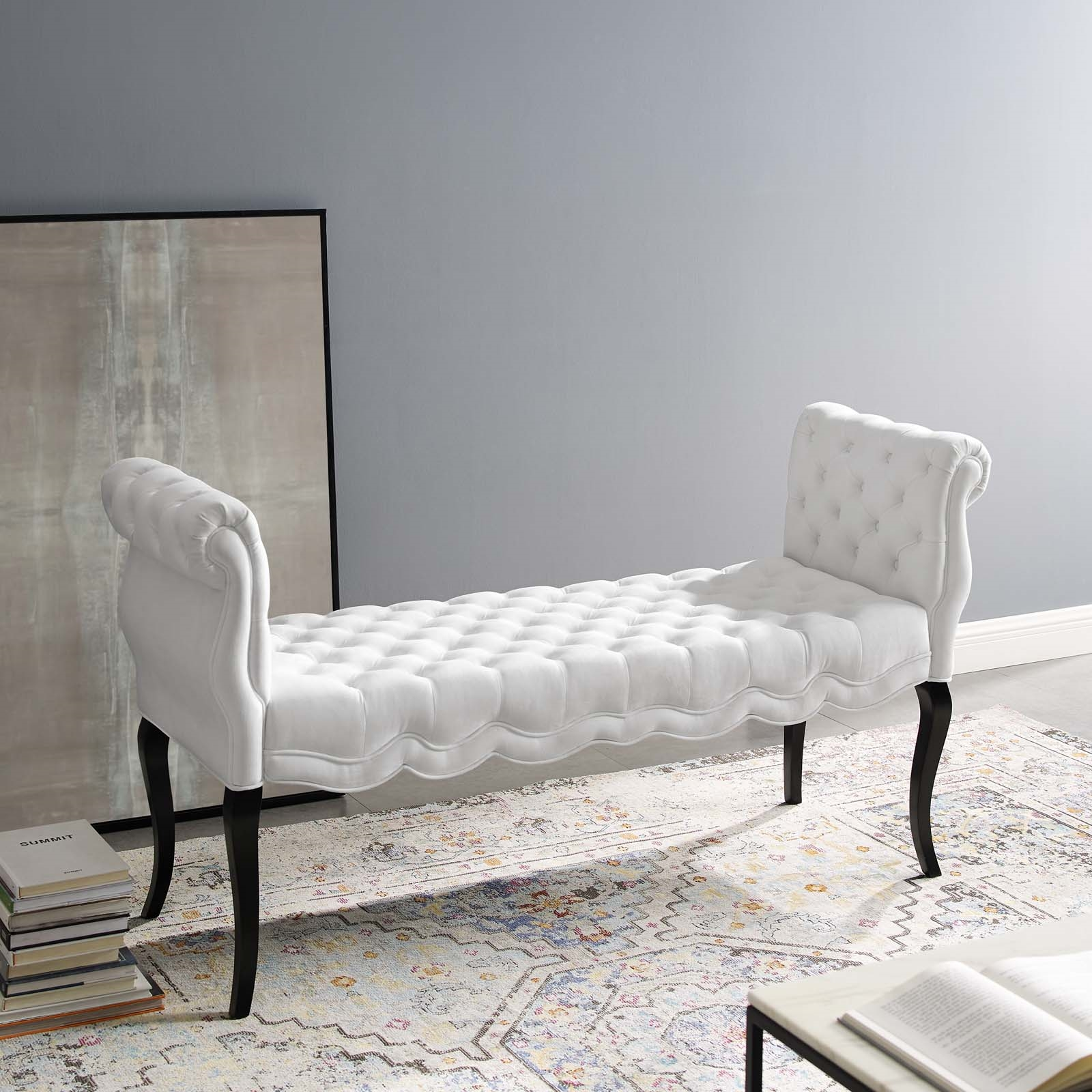 Adelia Chesterfield Style Button Tufted Performance Velvet Bench in White