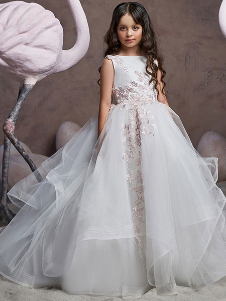 Milanoo Flower Girl Dresses Jewel Neck Tulle Sleeveless Sweep Princess Silhouette Embroidered Formal Kids Pageant Dresses