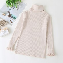 Girls Ruffle Trim Turtleneck Solid Sweater