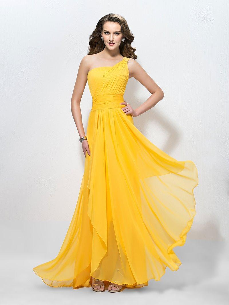 Ericdress One Shoulder A-Line Applique Long Prom Dress