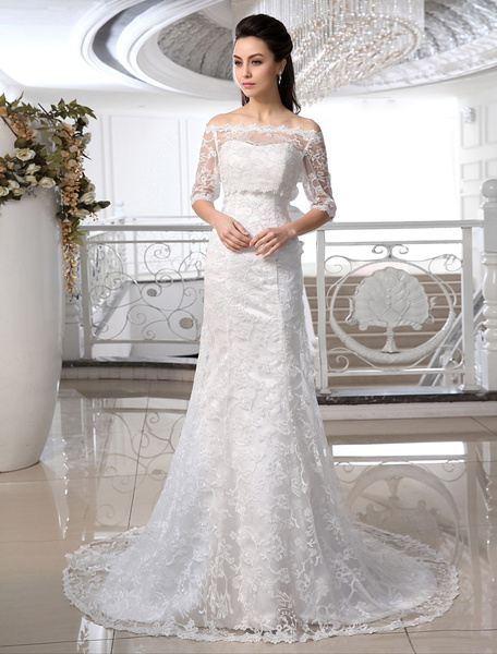 Milanoo Ivory Wedding Dress Off-the-Shoulder Mermaid Lace Wedding Gown