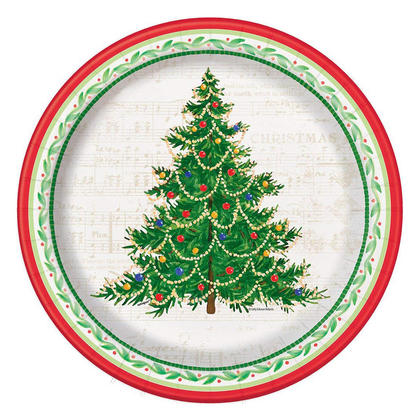 Classic Christmas Tree Paper Dinner Plates for Home Party Decor, 10.25 inch, 8ct