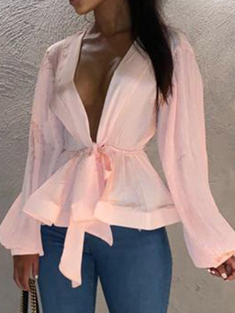 Ericdress Lantern Sleeve V-Neck Lace-Up Fashion Blouse