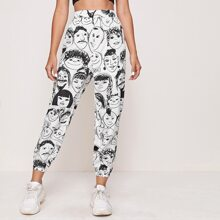 All Over Figure Print Cropped Pants