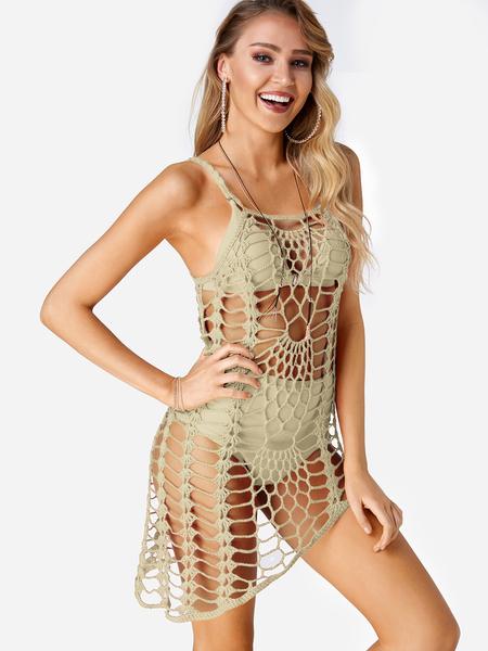 Yoins Beige Crochet Hollow Out Irregular Hem Beachwear