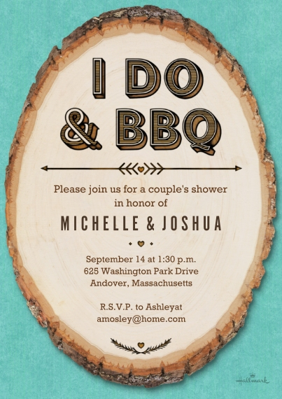 Wedding Shower Invitations Flat Matte Photo Paper Cards with Envelopes, 5x7, Card & Stationery -Rustic I Do & BBQ