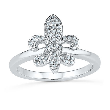 Womens 1/6 CT. T.W. Genuine White Diamond Sterling Silver Cocktail Ring, 7 , No Color Family
