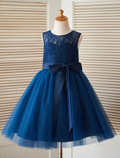 Milanoo Flower Girl Dress Princess Dark Blue Satin Bows Sleeveless Backless Tulle Tea-Length Pageant Dress
