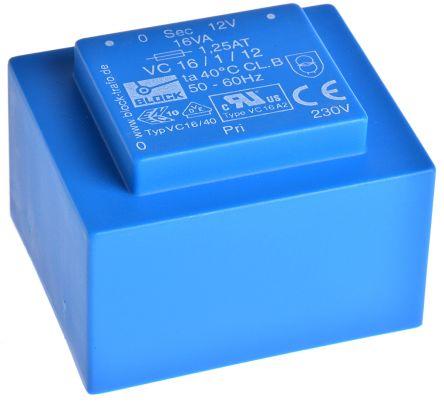 Block 12V ac 1 Output Through Hole PCB Transformer, 16VA