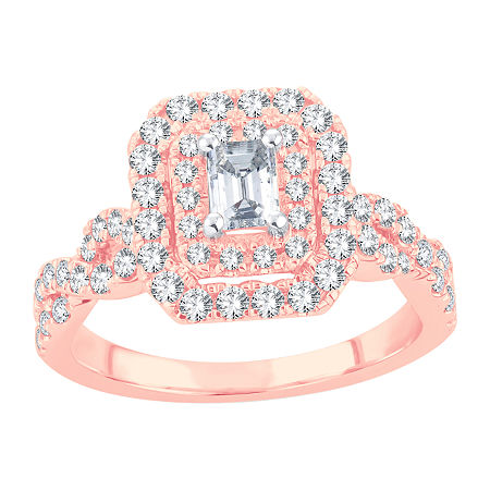 Womens 1 CT. T.W. Lab Grown White Diamond 10K Rose Gold Engagement Ring, 7 , No Color Family