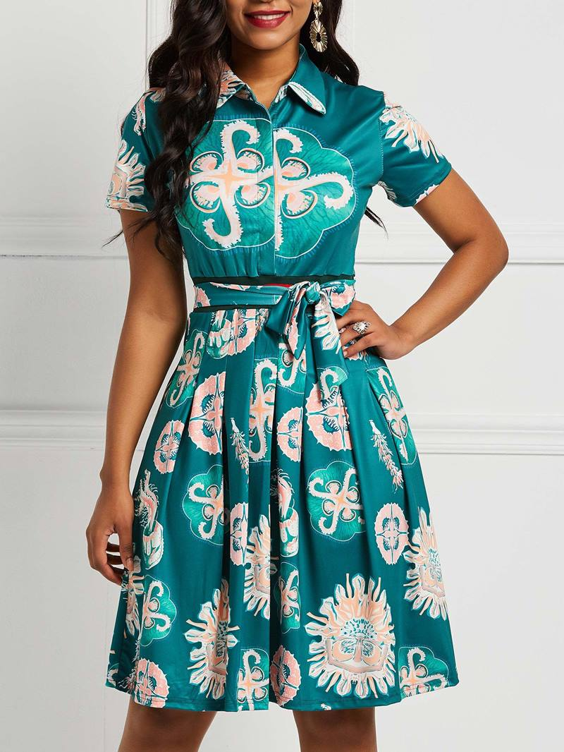 Ericdress Lace-Up A-Line Print Dresses