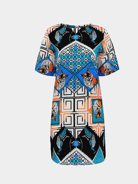 Yoins T-shirt Dress In Tiger Print