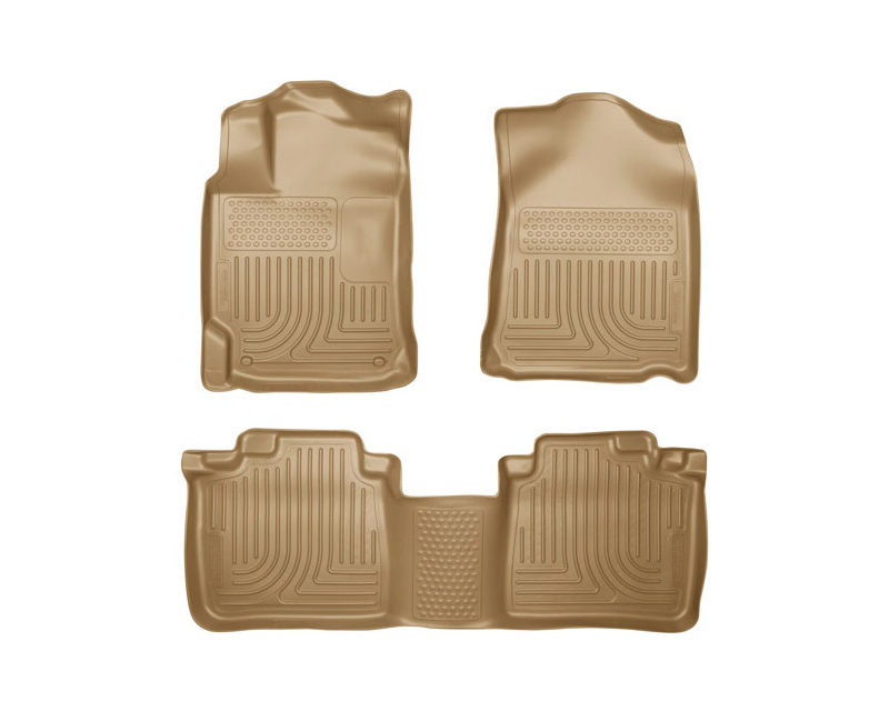 Husky Floor Liners Front & 2nd Row 12-15 Toyota Camry 4 Door Models (Footwell Coverage) WeatherBeater-Tan