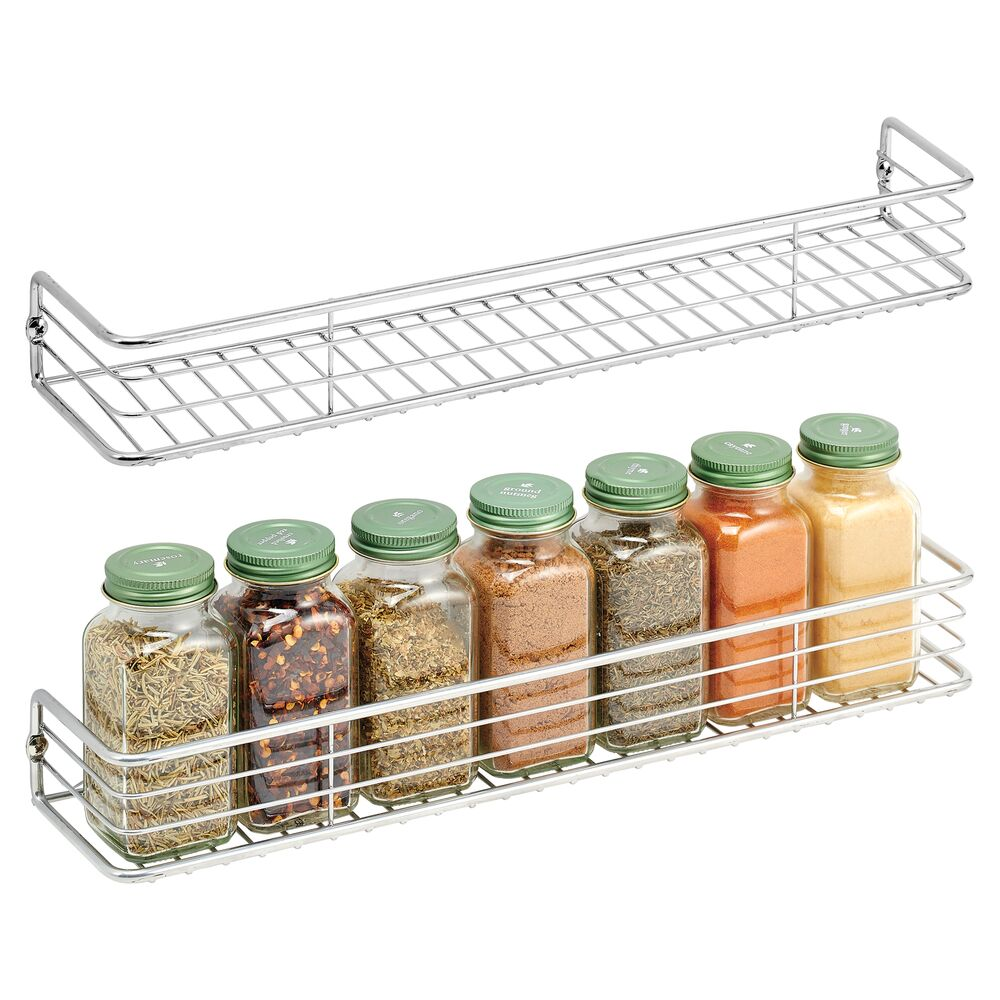 Metal Wall Mount Spice Rack, Pack of in Chrome, by mDesign