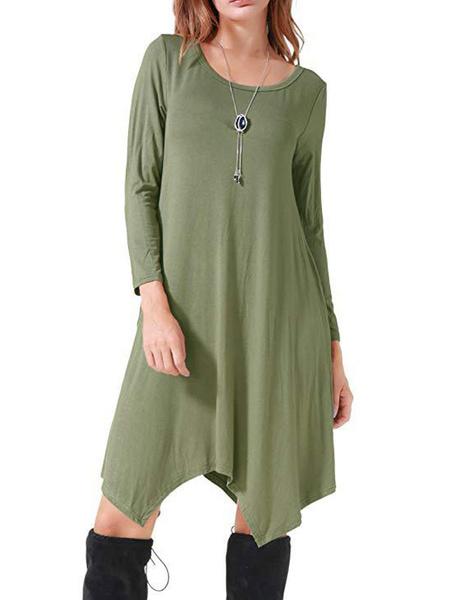 Milanoo T-shirt Dresses Cyan Polyester Long Sleeves Jewel Neck Summer Dress