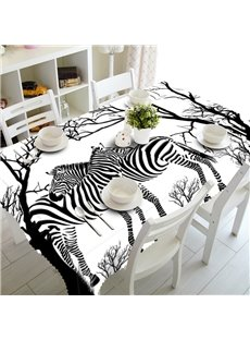 Two Lovely Zebra in the Forest Prints Dining Room Decoration 3D Tablecloth