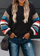 Colorful Serape Striped Splicing Knitted Sweater - Black