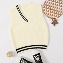 Toddler Boys V-neck Striped Sweater Vest