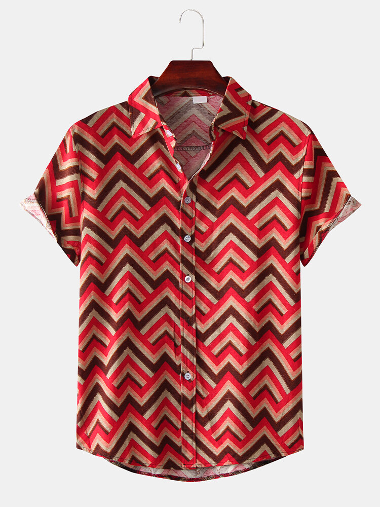 Mens Stripe Chevron Multi Color Short Sleeve Shirts