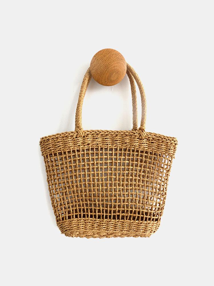 Women Beach Hollow Out Manual Straw Handbag Tote