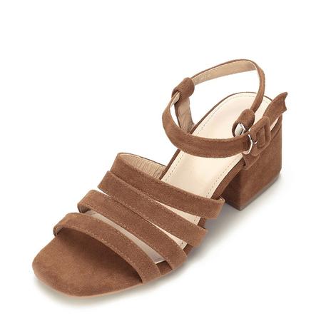 Yoins Brown Suede Look Straps Across Block Heel Sandal