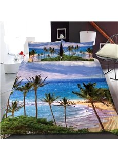 Hawaiian Vacation Style 3D Printed Polyester 1-Piece Warm Quilt