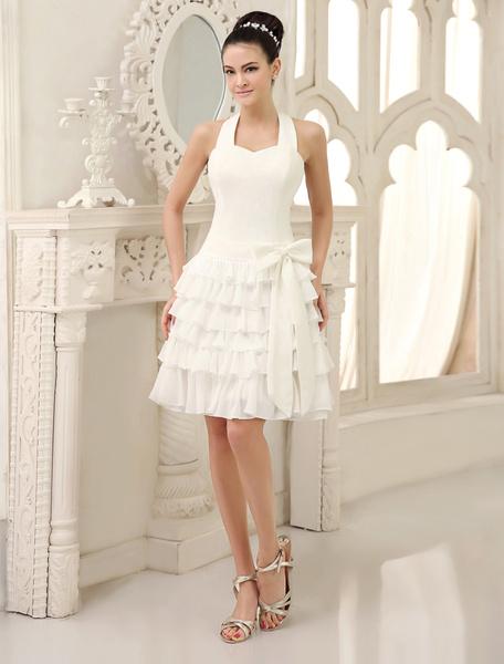 Milanoo Simple Wedding Dresses Ivory Short Bridal Dress Backless Tiered Bow Ruffles Chiffon Wedding Gown