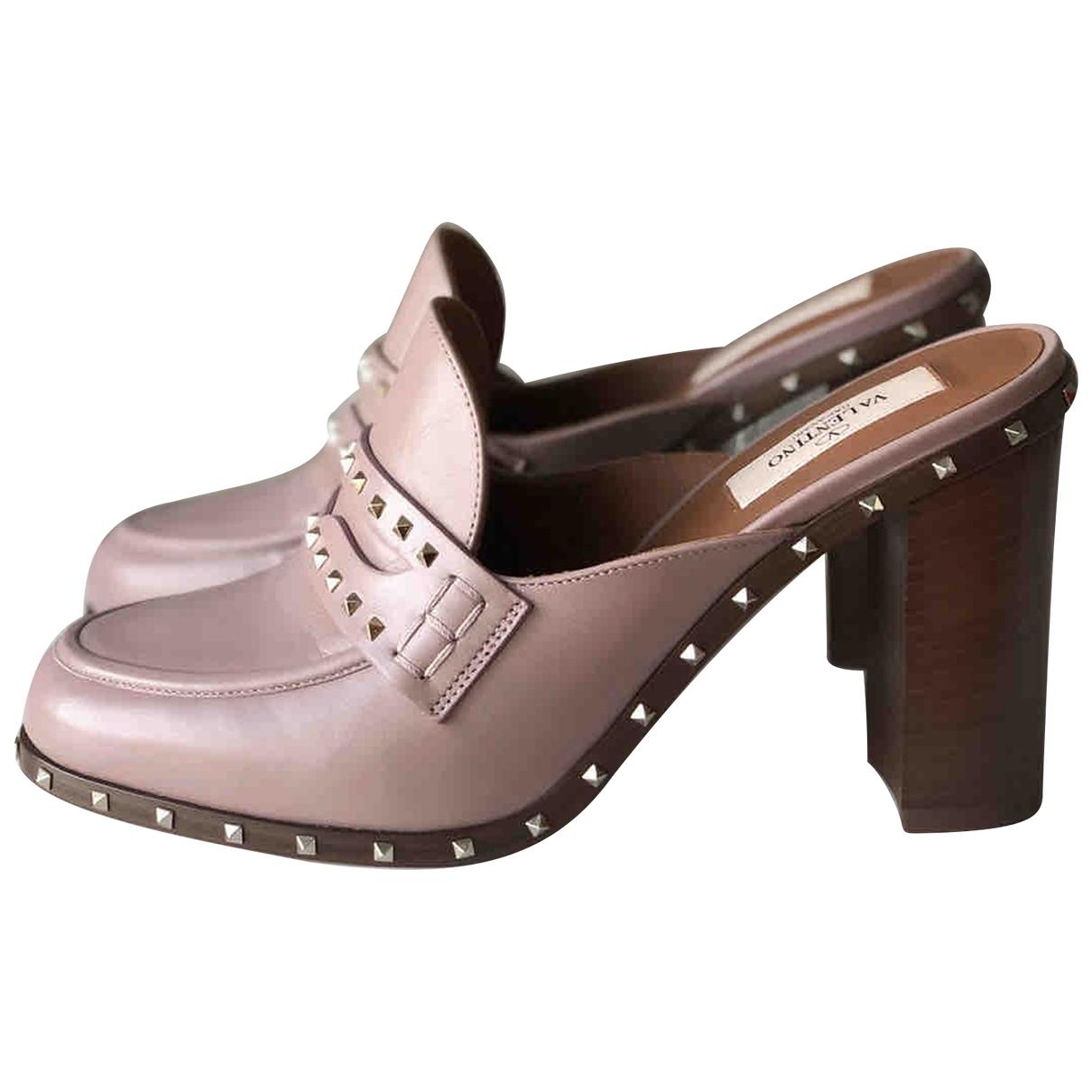 Valentino Garavani \N Pink Leather Flats for Women 37.5 EU