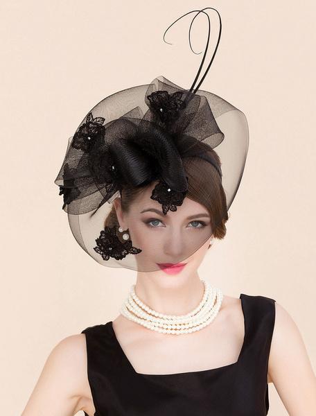 Milanoo Black Retro Hat Halloween Costume Accessories Vintage Fascinator Hat Women Royal Headpieces