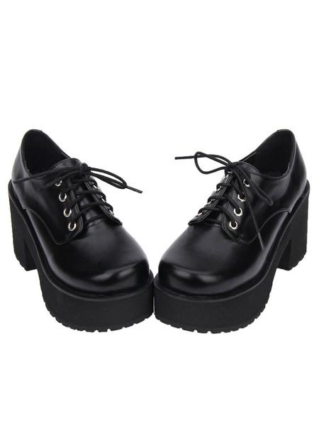 Milanoo Sweet Lolita Shoes Black Platform Chunky Heel Lace Up Lolita Boots
