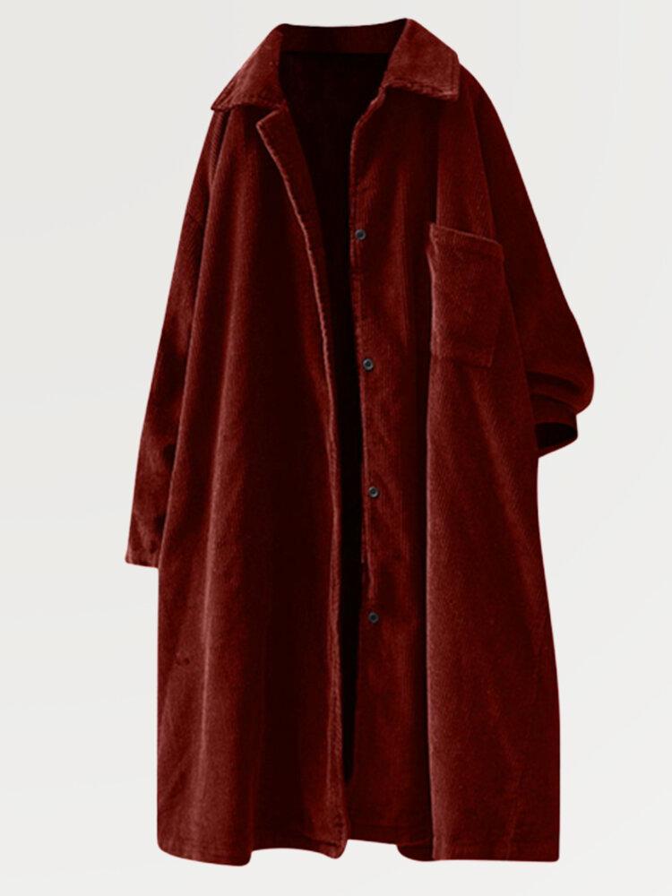 Corduroy Solid Color Lapel Long Sleeve Mid-length Button Coat
