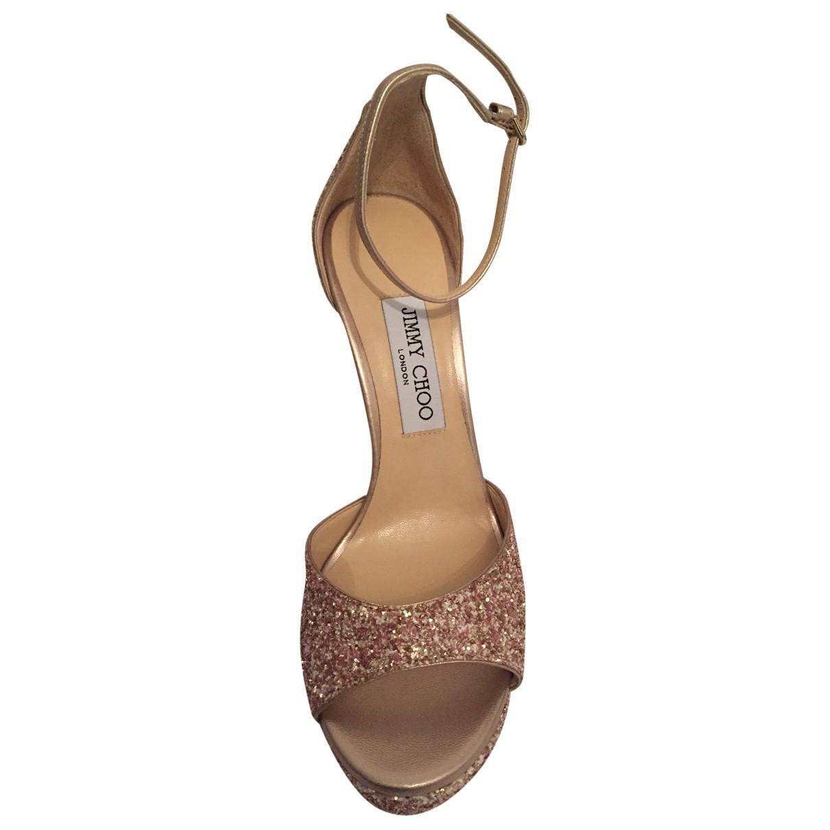 Jimmy Choo \N Pink Glitter Sandals for Women 38 EU