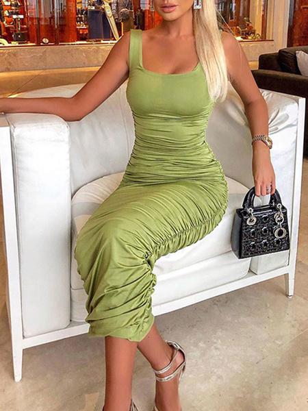 Milanoo Sexy Bodycon Dresses Green Sleeveless Pleated U-Neck Long Sheath Dress