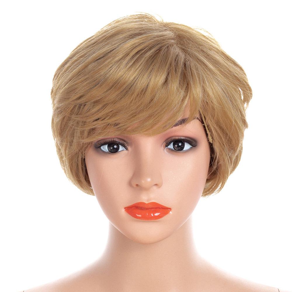 Synthetic Wigs Gold Short Straight Hiar Wigs Full Bangs Wigs Headwear Hair StylingFor Women