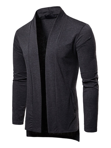 Milanoo Men Cardigan Coat High Low Long Sleeve Casual Jacket