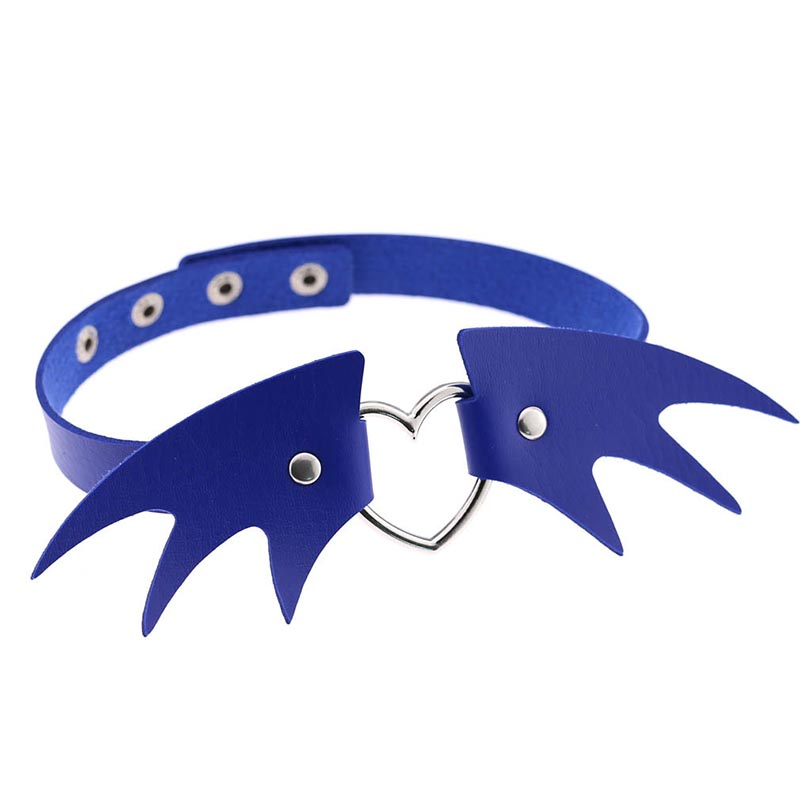 Demon Wing Adjustable Leather Choker Halloween Necklace