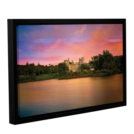 Brushstone Castle At Dusk Gallery Wrapped Floater-Framed Canvas, One Size , Blue