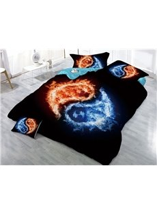 Yin Yang Pattern Water and Fire Printed 3D 4-Piece Bedding Sets/Duvet Covers