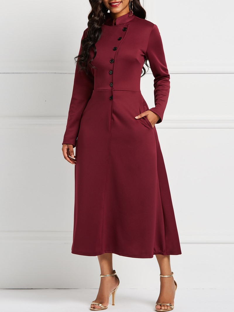Ericdress Long Sleeve Stand Collar Single-Breasted Plain A-Line Dresses