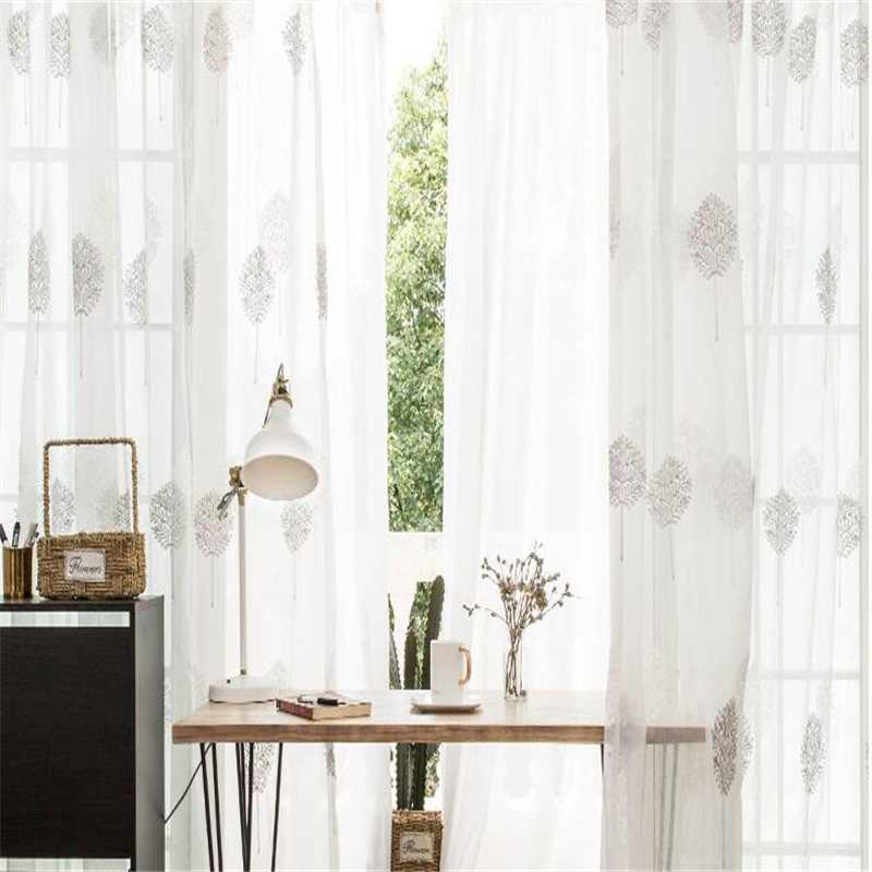Romantic and Modern White Color Custom Sheer Curtain for Living Room