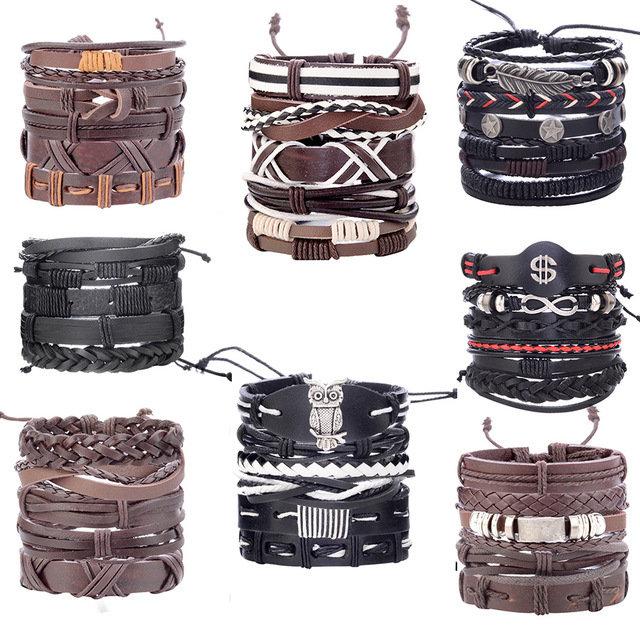 Vintage Punk Bracelet Set Multi-layer Leaf Pendant Pu Leather Handmade Weaving Bracelet