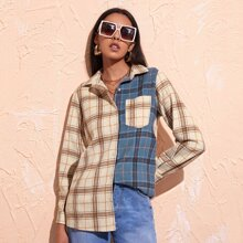 Button Front Tartan Print Color Block Top