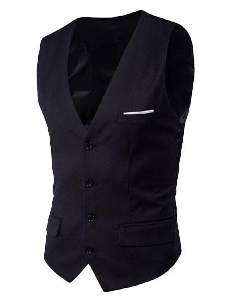 Milanoo Blue Suit Vest Plus Size V Neck Pocket Button Men Waistcoat