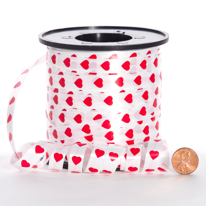 3/8 X 219yd Satin White W/Red Hearts Curling Ribbon by Ribbons.com