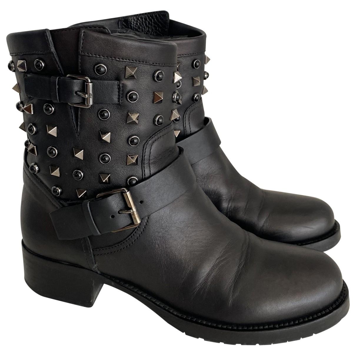 Valentino Garavani \N Black Leather Ankle boots for Women 38.5 EU