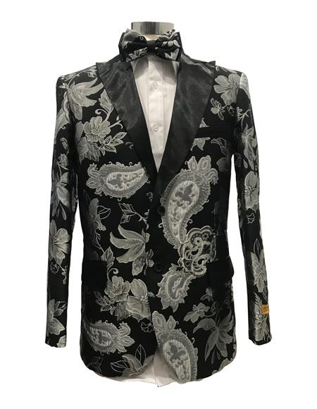 Mens Two Button suit Single Breasted Black